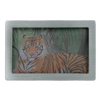 Tiger at Rest Rectangular Belt Buckle