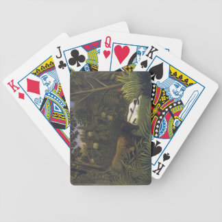 Tiger Attacking a Horse and a Sleeping Black Man ( Bicycle Playing Cards