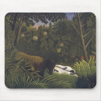 Tiger Attacking a Horse and a Sleeping Black Man ( Mouse Pad