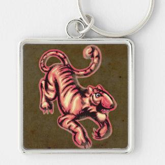 Tiger Baby Painting Cartoon Salmon Brown Keychain