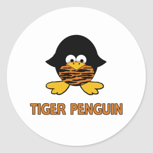 Tiger Baby Penguin Classic Round Sticker