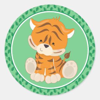 TIger   Baby Safari Animals Classic Round Sticker