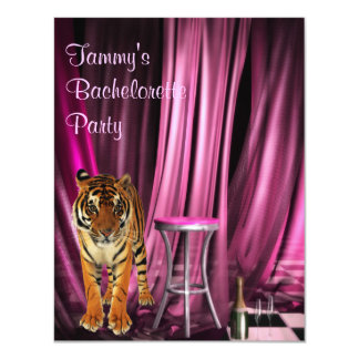 Tiger  Bachelorette Pink Party Event Card
