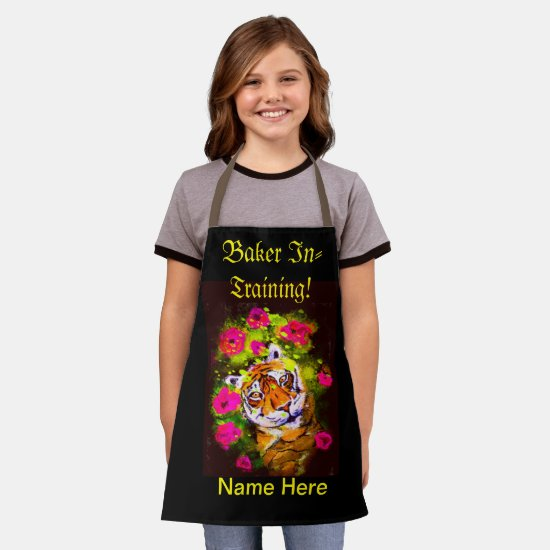 Tiger Baker In Training and  (Name Here) Kids Apron