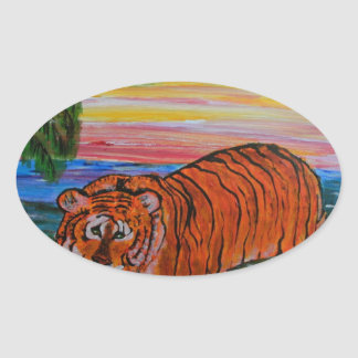 Tiger bathing at sunset oval sticker