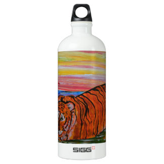 Tiger bathing at sunset water bottle