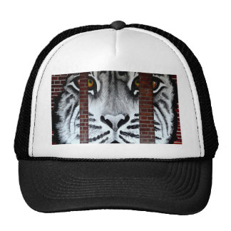 Tiger behind bars look forward to freedom trucker hat