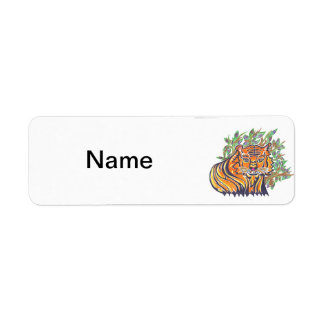 TIGER Bengal Tiger in the lush foliage Label