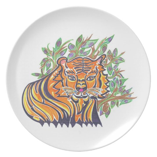 TIGER Bengal Tiger in the lush foliage Melamine Plate