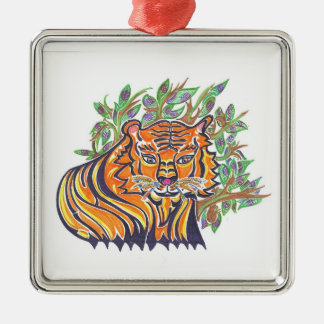 TIGER Bengal Tiger in the lush foliage Metal Ornament