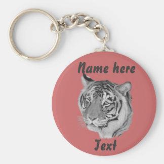 tiger big cat realist art original wildlife design basic round button keychain