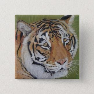 tiger big cat realist portrait art painting button