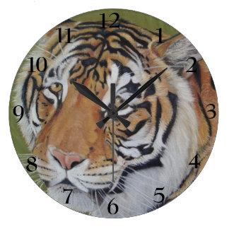 tiger big cat realist portrait art painting large clock