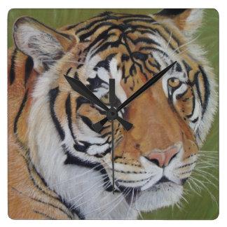 tiger big cat realist portrait art painting square wall clock
