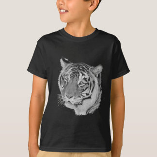 tiger big cat realist portrait painting monochrome T-Shirt