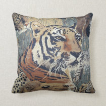 Tiger big cat Wildlife Animals print throw pillow