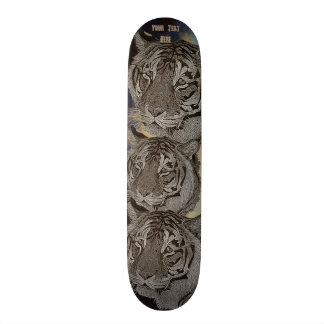tiger big cat wildlife realist art design skateboard deck