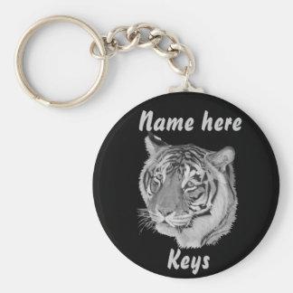 tiger big cat wildlife realist art keychain