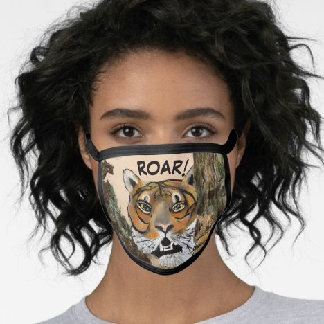 Tiger Black All Over Cotton & Poly Blend Facemask