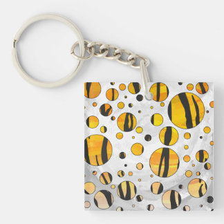 Tiger Black and Orange Print Acrylic Key Chains