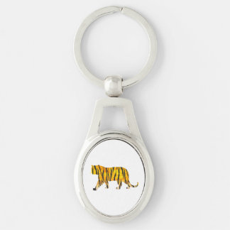 Tiger Black and Orange Print Keychain