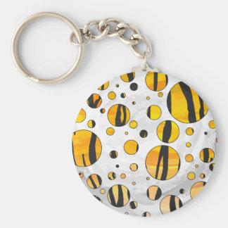 Tiger Black and Orange Print Keychains
