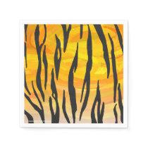 Tiger Black and Orange Print Paper Napkin