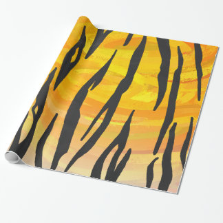 Tiger Black and Orange Print Gift Wrapping Paper