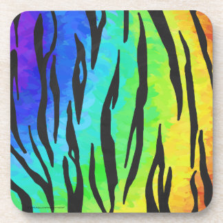 Tiger Black and Rainbow Print Coaster