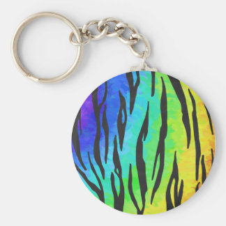 Tiger Black and Rainbow Print Keychain