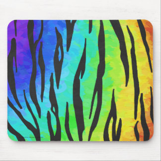 Tiger Black and Rainbow Print Mouse Pad