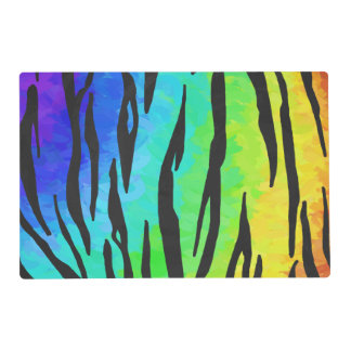Tiger Black and Rainbow Print Placemat