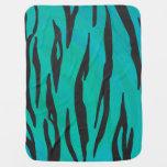 Tiger Black and Teal Print Baby Blanket
