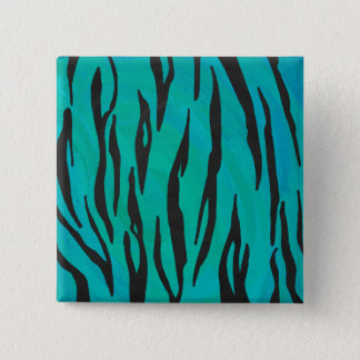 Tiger Black and Teal Print Pinback Button