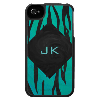 Tiger Black and Teal Print iPhone 4 Cases