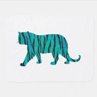 Tiger Black and Teal Print Swaddle Blanket