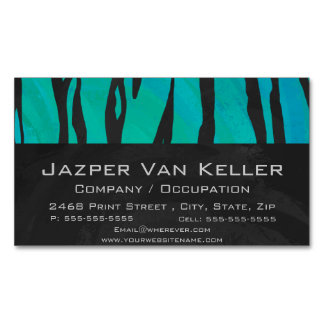 Tiger Black and Teal Print Magnetic Business Cards (Pack Of 25)