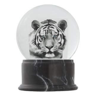 Tiger Black and White Blue eyes Snow Globe