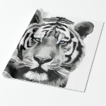Tiger Black and White Blue eyes Wrapping Paper