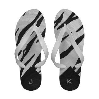 Tiger Black and White Print Flip Flops