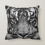 Tiger Black&White Throw Pillow