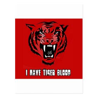 """Tiger Blood """"I Have Tiger Blood"""" Postcard"""