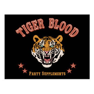 Tiger Blood Party Supplements Postcard