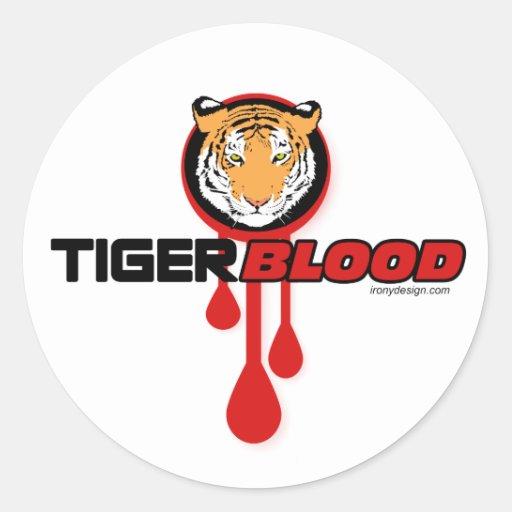 Tiger Blood Round Stickers