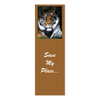 Tiger bookmark, Save My Place Double-Sided Mini Business Cards (Pack Of 20)