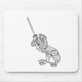 Tiger Brandishing Katana Mandala Mouse Pad