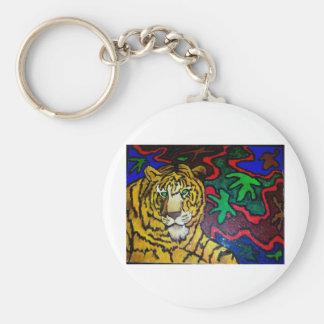 Tiger Bright by Piliero Basic Round Button Keychain