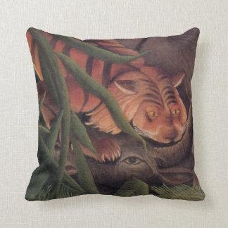 Tiger Buffalo Banana Jungle Henri Rousseau Throw Pillows