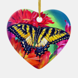 Tiger Butterfly Ceramic Ornament