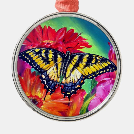 Tiger Butterfly Metal Ornament
